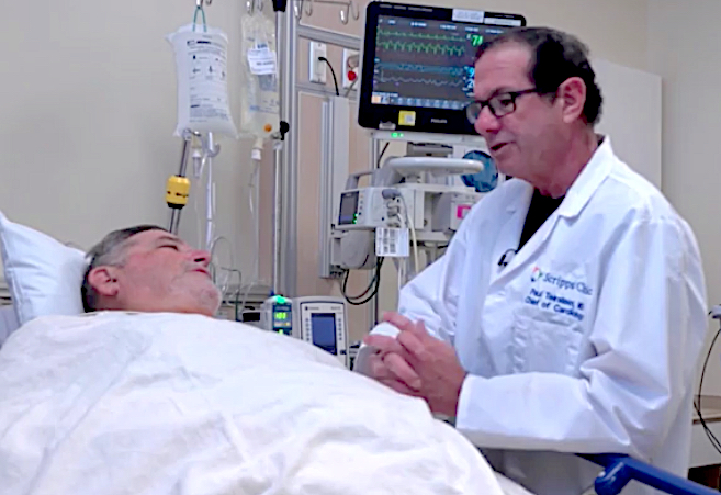 TAVR Patient Ed White speaks with Paul Teirstein, M.D., Scripps Clinic chief of cardiology, the interventional cardiologist who performed the TAVR procedure on White, following the procedure Sept. 3.