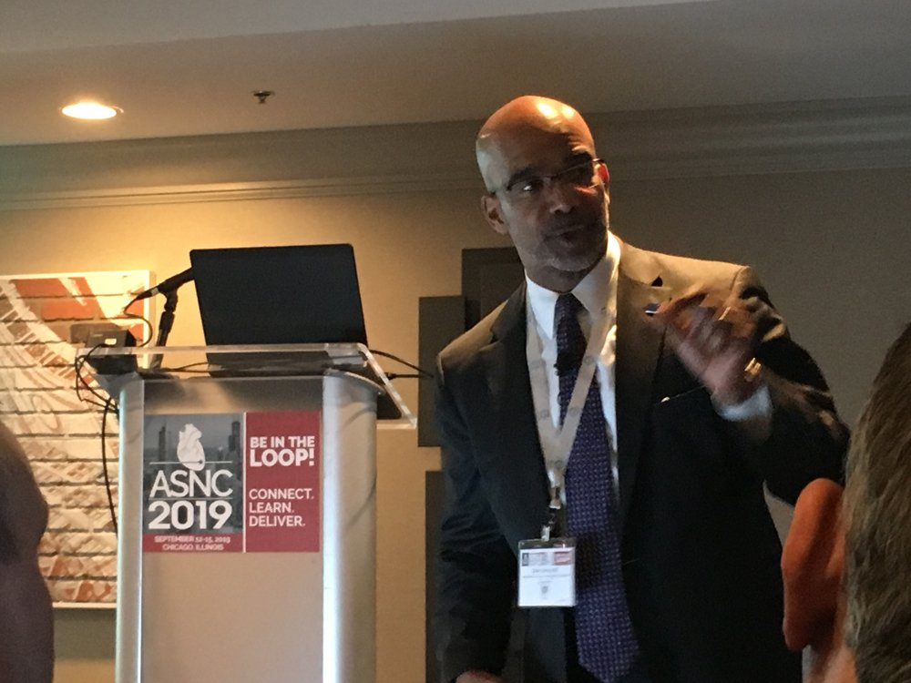One of the keynote speakers at the 2019 ASNC meeting was Clyde Yancy, M.D., MSc, cardiology chief and vice dean for diversity and inclusion at Northwestern University, Feinberg School of Medicine, who spoke on on healthcare disparities and diversity in the workforce. #ASNC #ASNC19