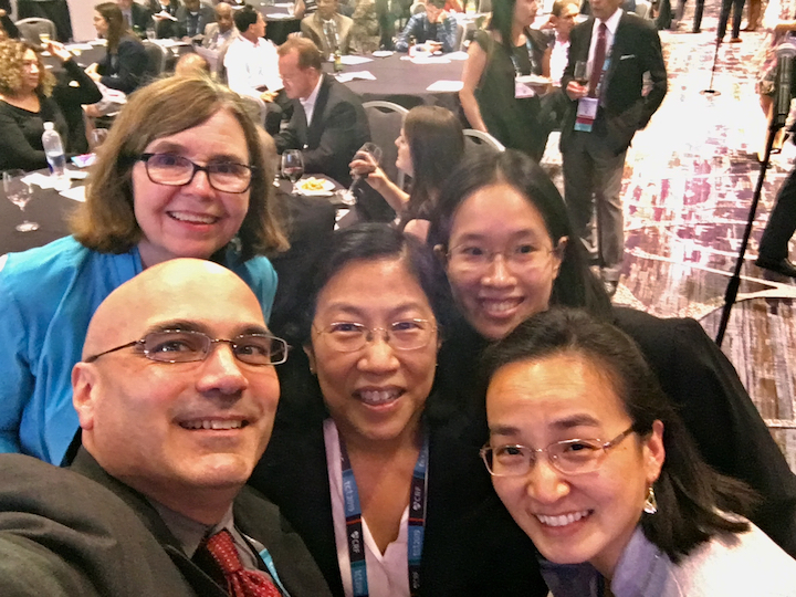 DAIC Editor Dave Fornell with some of the faculty of the Women in Structural Heart (WISH) - Breaking the Glass Ceiling session TCT 2019. Left to right are doctors Linda Gillam, Morristown Medical Center; Rebecca Hahn, Columbia University; Vivian Ng, New York Presbyterian; and Dee Dee Wang, Henry Ford Hospital.