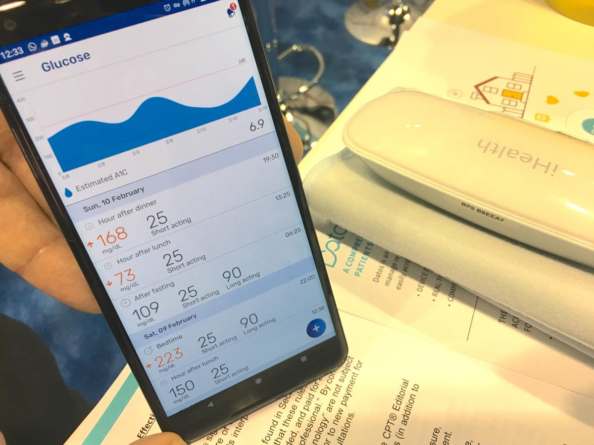 An example of the Data app used by Sheba showing how it interfaces with a wireless patient glucose monitor and other various wearables for remote, outpatient tracking. The center uses this technology to track both heart failure and cardiac rehabilitation patients.