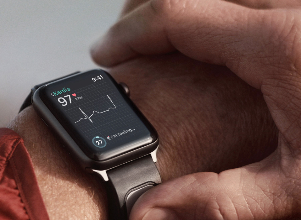The AliveCor Kardia watch is a wearable ECG monitor that interfaces with AI analysis apps and allows waveforms and data to be e-mails to a doctor.
