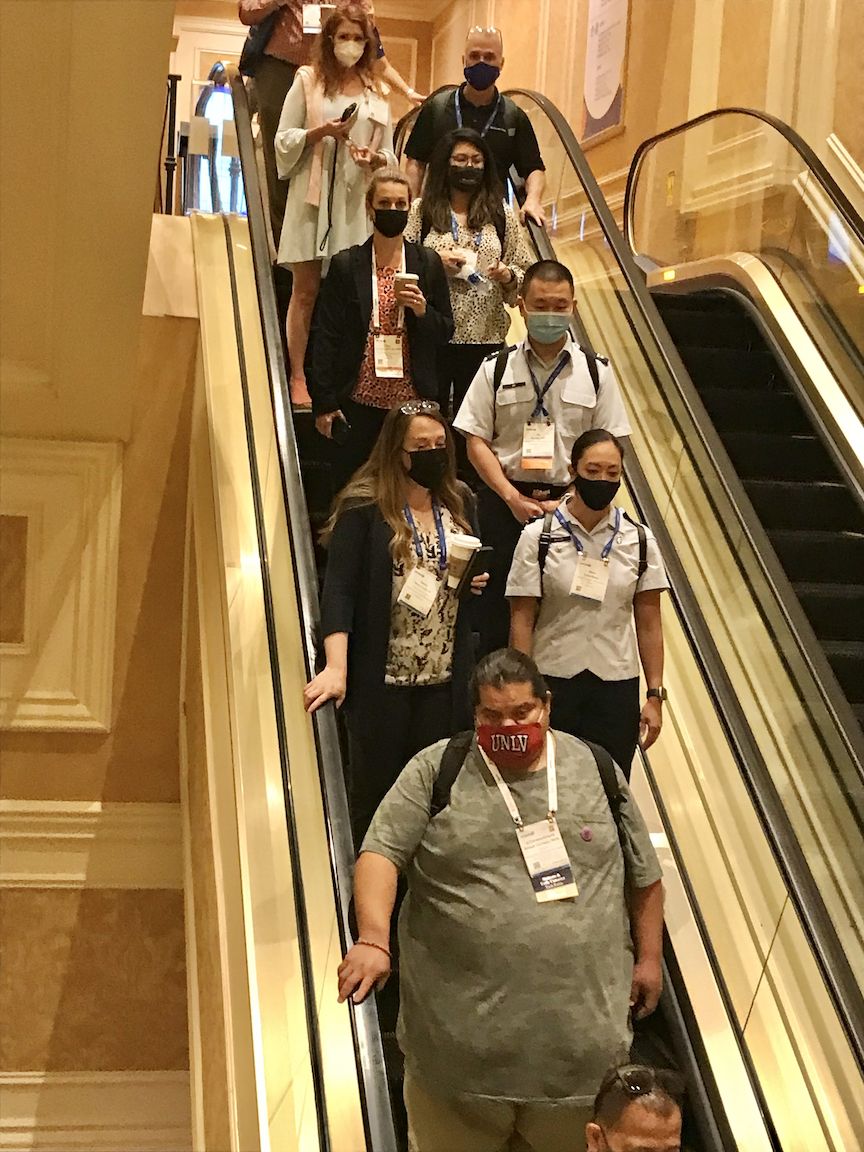 HIMSS 2021 attendees wearing masks to meet Nevada's new mask mandate. During HIMSS, two other large conferences, RSNA and ASTRO, announced they too will require vaccinations and masks at their meetings.