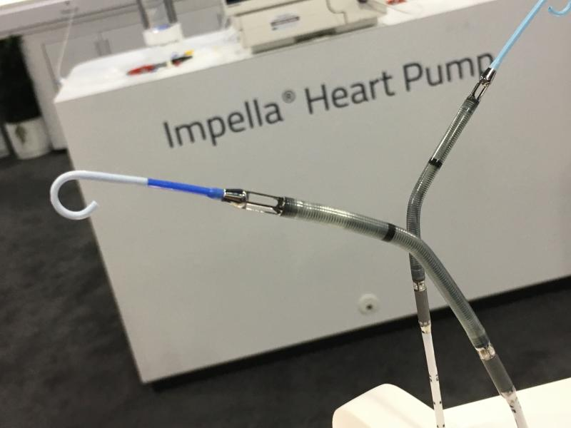 Two versions of the Abiomed Impella percutaneous ventricular assist device being shown at ACC 2018. Impella is the only device currently cleared by the FDA for use in cardiogenic shock.