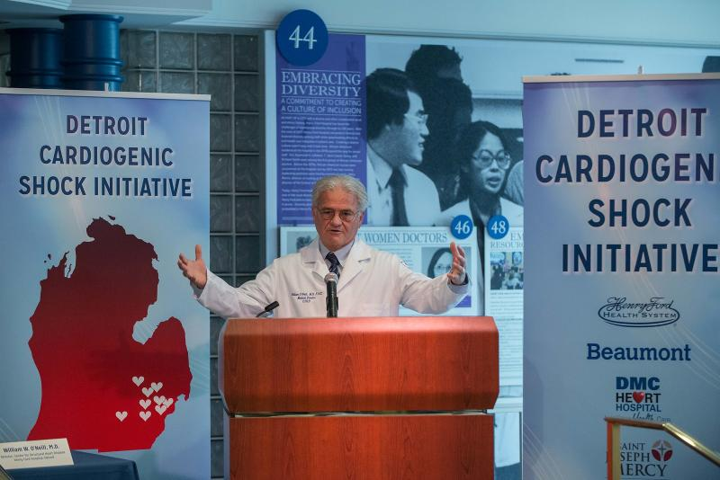 William O'Neill, M.D., unveils the Detroit Cardiogenic Shock Initiative at Henry Ford Hospital. The program uses new protocols to reduce cardiogenic shock mortality by 50 percent by using early hemodyanmic support.