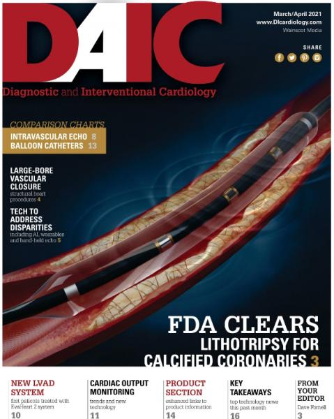 The March April 2021 issue of DAIC, Diagnostic and Interventional Cardiology magazine, Dave Fornell is the editor.