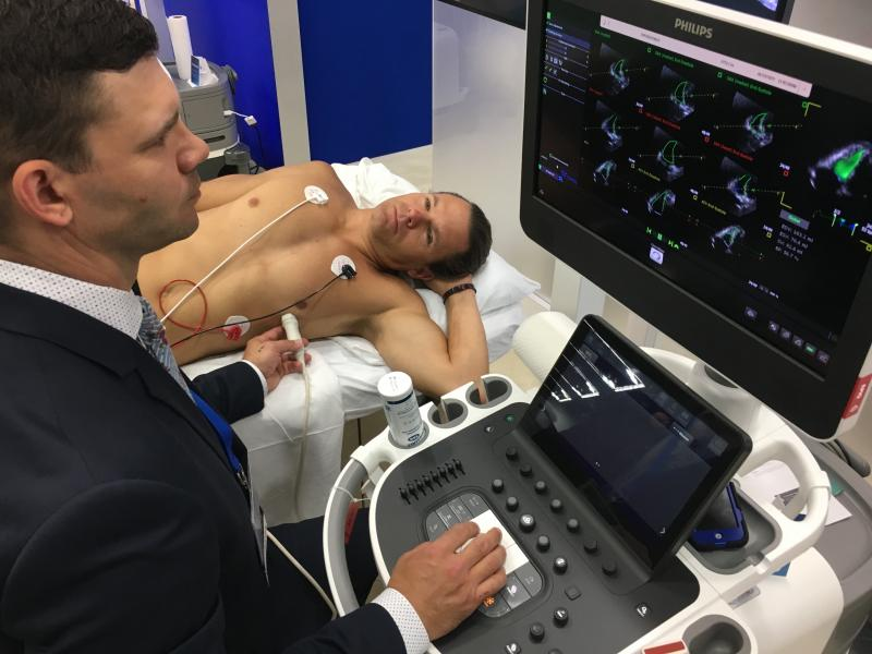 ASE issued guidelines for the protection of echocardiography providers during the COVID-19 outbreak. Image shows a Philips Ultrasound system being used during a demonstration at the ASE 2019 meeting. #SARScov2