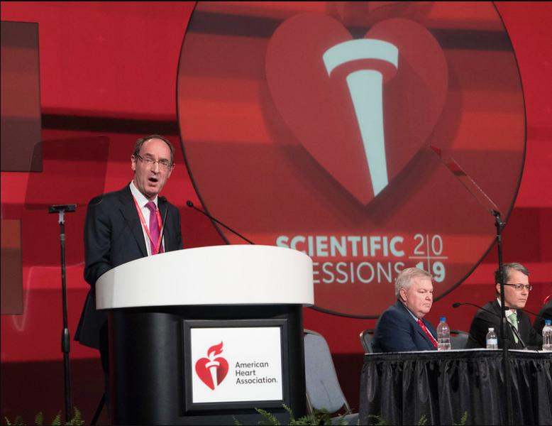 "FDA Clears Dapagliflozin to Treat Heart Failure With Reduced Ejection Fraction. This was based on data from the DAPA-HF Trial. John McMurray, M.D., presenting the DAPA-HF Trial at AHA 2019 last November. It was part of the late-breaking presentations in the ""Outside the Box: New Approaches to CVD Risk Reduction"" session. Photo by AHA/Phil McCarten"