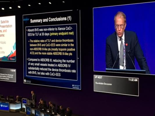 Thirty-Day ABSORB IV Results Demonstrate Improvements Still Needed in Bioresorbable Stents