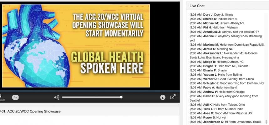The chat box in a the minutes prior to the beginning of the opening session of the ACC 2020 virtual meeting. Hundreds of clinicians said hello from their locations around the globe, keeping withthe ACC messaging on the screen. #ACC20 #ACC #ACC2020