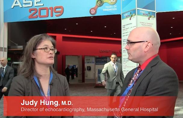 Judy Hung, M.D., speaking with DAIC Editor Dave Fornell during a video interview at the 2019 American Society of Echocardiography (ASE) annual meeting. Hung took over as ASE President in June.
