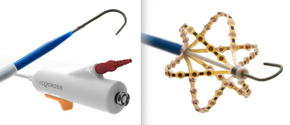 Left, the AcQCross Transseptal Crossing Device offers versatility to be utilized with top sheaths currently used in left atrium EP and structural heart procedures. Right, the AcQMap next-generation mapping catheter integrates high-resolution ultrasound-based imaging and non-contact mapping catheter with improved torque response, handling and maneuverability.