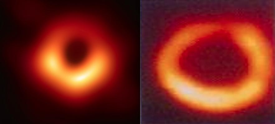 A comparison of the first-ever image of a black hole released this week by the Event Horizon Telescope collaboration et al. and a cardiac nuclear imnaging exam. Left if the black hole, right, is a similar nuclear imaging exam of the heart showing a similar ischemic perfusion defect to the black hole.  Comparison of black hole photo to a cardiac exam.