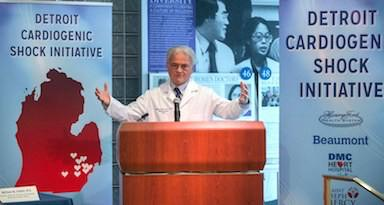 WilliamO'Neill, M.D., Henry Ford Hospital, speaking at the announcement of the creation of the Cardiogenic Shock Initiative in 2016. O'Neill asked the same partner hospitals in the Detroit area to pool resources to create a COVID-19 study group to help speed the gathering of data in COVID-19 drug trials.