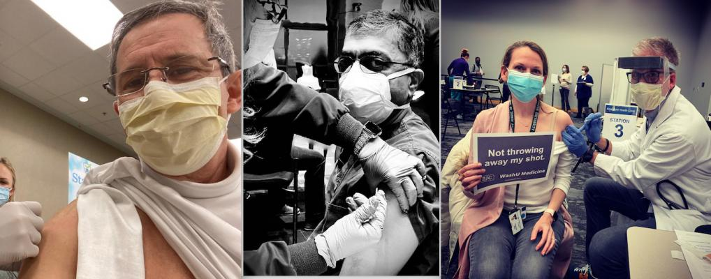 Images of cardiology leadership receiving their first doses of the COVID-19 vaccine in late December. Left, American Society of Nuclear Cardiology (ASNC) President Randy Thompson, M.D., at Saint Luke's Hospital in Kansas City. Center, former American Society of Echocardiography (ASE) president Madhav Swaminathan, M.D., Duke University. Right, Thomas Maddox, M.D., administers doses of the COVID vaccine at the Washington University School of Medicine. #COVID19 #Sarscov2 #COVIDvaccine