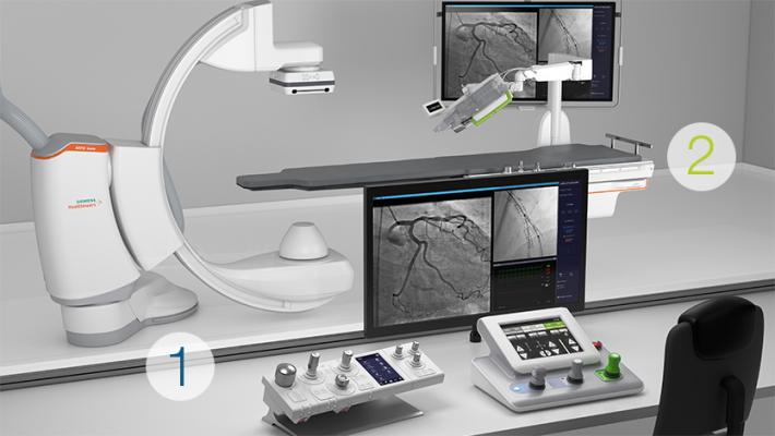 Corpath GRX interventional cardiology robotic systemis comprised of two different components: 1. The control console. 2. The bedside unit.