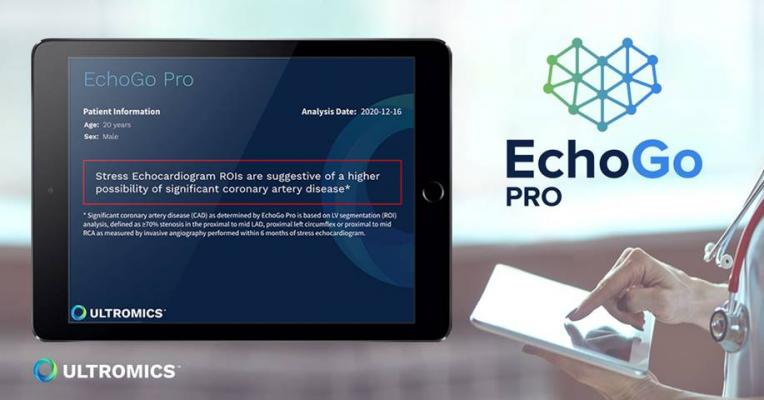 Ultromics will offer EchoGo Pro as a stress-echo module in the EchoGo suite alongside EchoGo Core, its AI solution for automated systolic function and strain analysis. The EchoGo suite is a cloud-based service that uses artificial intelligence to fully automate the pathway to diagnosis, providing near-instant reports for clinicians without any need for physical software on site.