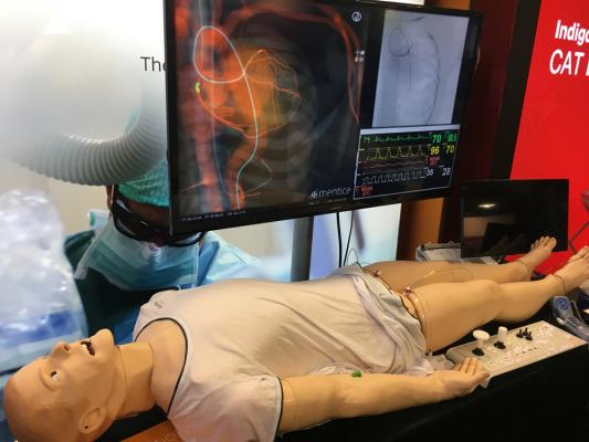 #TCT2019 #TCT #TCT19  Mentice. The patient has respiratory chest motion, eyes blink and it allows for radial or femoral catheterization. The simulator allows for PCI training. When not used for cath training, the patient simulator can be used by other hospital staff training or EMS training.