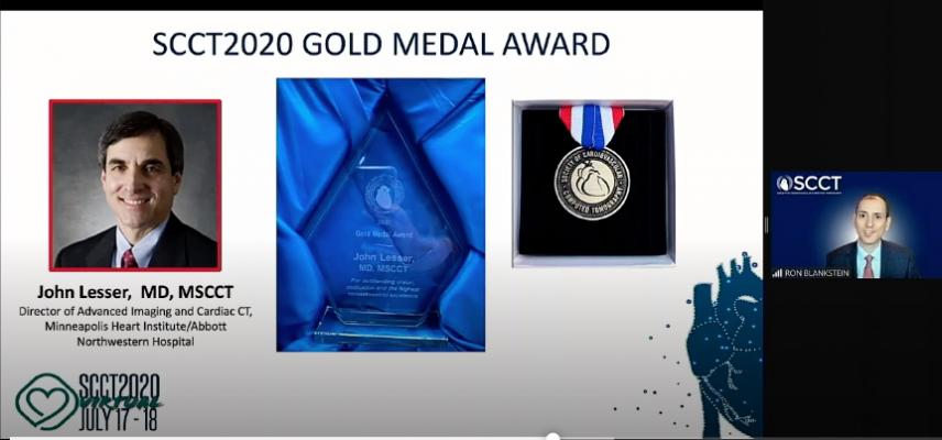 During the SCCT 2020 virtual meeting, SCCT President Ron Blackstein, M.D., Brigham and Women's, presents the SCCT Gold Award to John Lesser, M.D., MSCCT, director of advanced imaging and cardiac CT, Minneapolis Heart Institute, Abbott Northwestern Hospital.