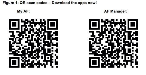 My AF and AF Manager apps are freely available for Android and iOS devices through the Google Play and Apple stores