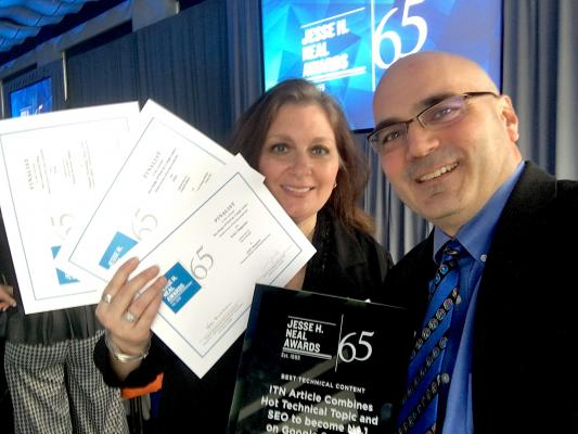 DAIC and ITN Editor Dave Fornell holds the 2019 Neal Award for best technical content with DAIC/ITN Editorial Director Melinda Taschetta-Millane, who is holding the finalist certificates for three other award entries at the award luncheon in New York City in March.