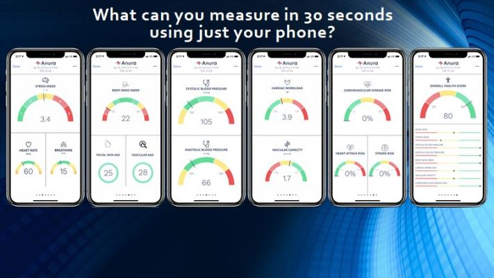 After each 30-second face scan, the app shows results for the user's stress index, body mass, blood pressure, cardiac workload, heart and stroke risk, and then gives an overall health score.