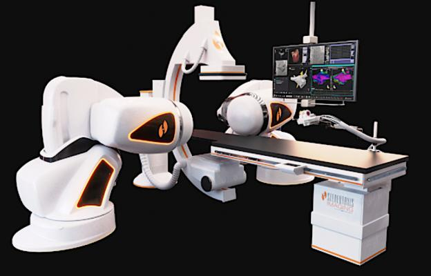 The Stereotaxis Genesis Robotic Magnetic Navigation system.