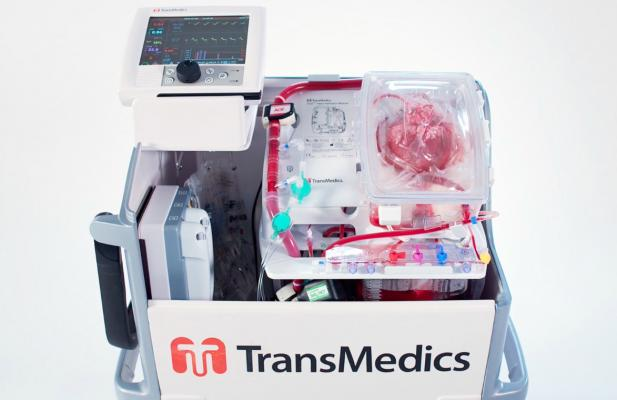 "The Transmedics Organ Care System (OCS) Heart, or ""Heart in a Box,"" enables transplant surgeons to travel to much farther destinations to procure transplant hearts by acting as a miniature intensive care unit that keeps the heart alive."
