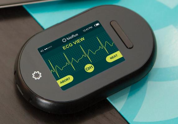 The Biotricity Bioflux remote ECG monitoring system.