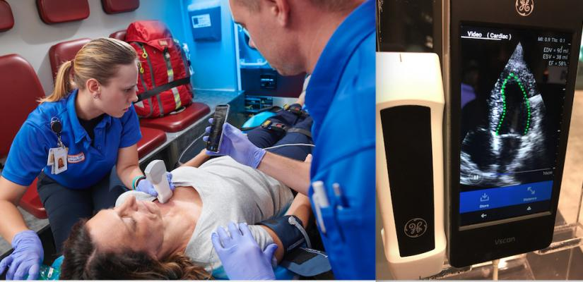 GE is integrating artificial intelligence into most of its imaging and information technology software. AI can aid fast critical care decision making. Above left is the vScan Air wireless point-of-care ultrasound system. It integrates AI for immediate, automated assessment of a patient's ejection fraction, right.