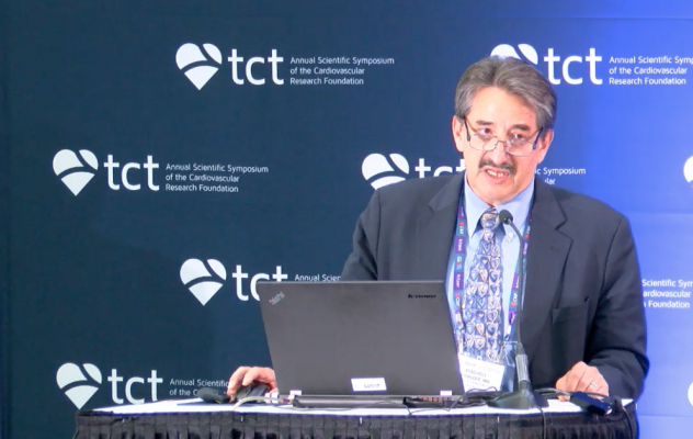 Mitchell W. Krucoff M.D., FACC, FAHA, FSCAI, professor of medicine/cardiology, Duke University Medical Center, director, cardiovascular devices unit, Duke Clinical Research Institute, presenting the Japan-USA HARMONEE trial results during a press conference at TCT 2017.