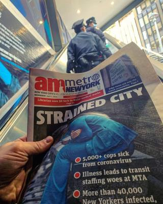 New York City newspaper headlines from April 1, 2020, and masked police officers at a subway station in Manhattan clearly outline the issues facing the city's hospitals during the height of COVID-19 pandemic in New York. Photo by Mike Borchardt. How Cardiology Dealt With the COVID-19 Surge in New York City