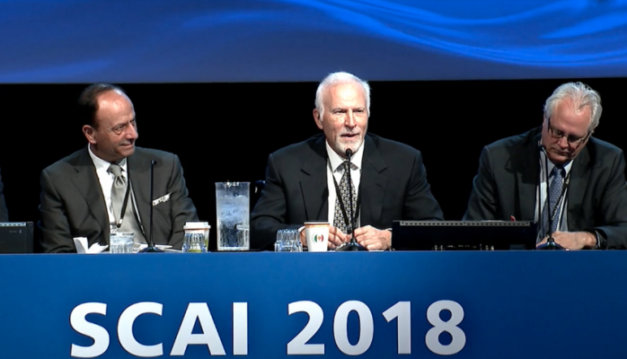 Richard Schatz, M.D., (center) is research director of cardiovascular interventions at the Heart, Lung, and Vascular Center at Scripps Clinic, speaking at a SCAI session on collaboration with industry to bring new device technologies to market. He is best known as the co-inventor of the first coronary stent, the Palmaz-Schatz stent. Left is Ziyad Hijazi, M.D., MPH, director of the Sidra Cardiac Program. #SCAI, #SCAI2018