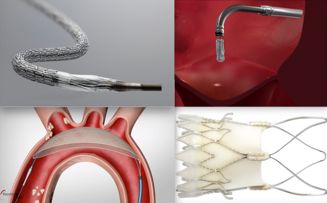 Some of the device technologies discussed in the TCT 2020 late-breaking trial sessions. Top left, the Medtronic Resolute Onyx stent was the first stent to receive FDA clearance for short duration dual-antiplatelet therapy, which was a big topic and subject of several sessions. Lower left, the KeystoneTriGuard 3 TAVR embolic protection devicedid not demonstrate superiority over TAVR without use of embolic protection. Top right, the Abbott MitraClip. Acurate neo TAVR valve. #TCTconnect #TCT2020