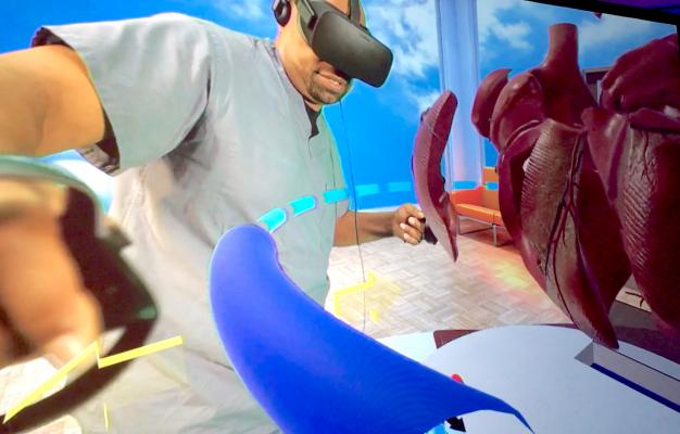 This is a view of the virtual reality system Stanford created to train staff and educate patients and parents about congenital heart conditions and procedures. This video reached more than 36,000 people on Facebook and was the highest performing video from the 2019 Cardiology AI-Med Conference in June.