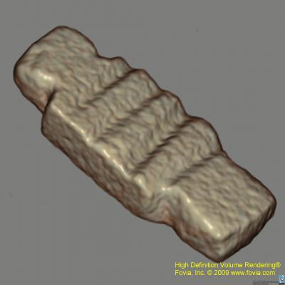 3-D reconstruction of an amulet wrapped inside an Egyptian mummy as seen in a CT scan.