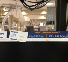 iFR reference numbers posted for new users in the cath lab at Northwestern Medicine's Central DuPage Hospital in Winfield, Ill.