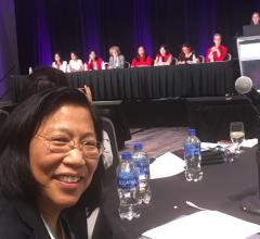 The first all-women panel discussion on structrual heart cases was held at TCT 2019. Rebecca Hahn, M.D., foreground, was the co-organizer of the Women in Structural Heart (WISH) evening session.