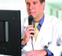 Dictation by radiologist using Nuance's technology. More powerful, intelligent voice operated systems were demonstrated at HIMSS 2019 as a way to help reduce physician burn out when using EHRs.