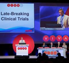 Peter Schneider, M.D. presents late breaking clinical trial results at VIVA 17 in Las Vegas. Panelists (l to r) Krishna Rocha-Singh, M.D., Sean Lyden, M.D., John Kaufman, M.D., Donna Buckley, M.D.