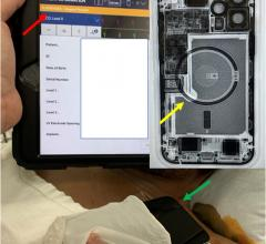 A device programmer showing the suspension of ICD therapies (orange bar, red arrow) with iPhone 12 laying over patient's chest (green arrow) and fluoroscopy of iPhone 12 showing the circular magnet array (yellow arrow). iPhone 12 can cause ICDs to stop working