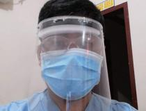 A radiology technologist Dodge Moises made his own personal protective equipment (PPE) face shield due to a severe shortage of PPE at Sen. Gerardo M. Roxas Memorial District Hospital in Iloilo City, Philippine. He used X-ray film that had gone bad with the emulsion stripped off, foam packing material, elastic and a glue gun to make own face shields for the techs. They were only issued 2 pairs of PPE for the duration of COVID-19, so they had to supplement. Photo by Dodge Moises.