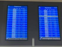 A large number of cancelled flights at the Birmingham, Alabama, airport despite perfect weather March 24. COVID-19 basically caused shut down of commercial air travel as passengers stopped booking flights and tens of thousands more more cancelled their booked travel arrangements, many because their meetings, conferences and vacation destinations shut down to aid coronavirus containment efforts. Photo by commercial pilot Andrew Vlack pilot.