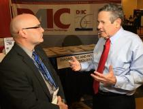 """DAIC Editor Dave Fornell with Arthur Agatston, M.D., who was the lead author on the first paper proposing use of CT scans of calcium to rist stratify patients for heart attacks. Since the study had hist name first, the risk assessment has since been named the """"Agatston Score."""" Watch an interview with him in the VIDEO: The History of CT Calcium Scoring — https://www.dicardiology.com/videos/video-history-ct-calcium-scoring"""