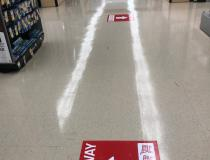 In the late-spring and early summer of 2020, many large stores began placing one-way direction signs in their aisles in attempts to limit contact with other shoppers. This example is at a Jewel grocery story in the Chicago suburbs. #SARSCoV2 Photo by Dave Fornell