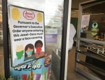 Face masks began to become manditory to enter stores in several states as the pandemic worsened during the first wave in the U.S. March-May 2020. These are the signs at the entrance to a local grocery store in the Chicago suburbs, telling shoppers they need masks to enter the store. Photo by Dave Fornell