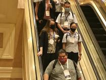 HIMSS 2021 attendees wearing masks to meet Nevada's new mask mandate. During HIMSS, two other large conferences, RSNA, ASTRO, and VIVA announced they too will require vaccinations and masks at their upcoming meetings later this fall.