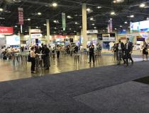 Several larger vendor booths were missing from the center of the HIMSS show floor, after number ofvendors pulled out of HIMSS in the week leading up to the conference due to rapidly increasing COVID numbers in Las Vegas and aound the country.These large spaces were turned into lounge areas, or left open for social distancing.