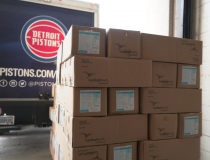 The Detroit Pistons helped transport donated medical supplies from Cleveland Clinic to Henry Ford Hospital in Detroit as the number of COVID-19 cases exploded in the Detroit area and hospitals began running critically low on personal protective equipment (PPE) and other supplies. Photo by Henry Ford Hospital.