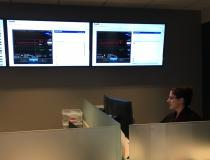 This is the Impella Connect control room at Abiomed's headquarters office in Danvers, Mass. It allows technicians to remotely connect with operating patient consoles at hospitals around the country to help immediately trouble shout technical issues.