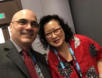 "#TCT2019 #TCT #TCT19 Lissa Sugeng, M.D., associate professor of medicine, director of echocardiography, Yale School of Medicine, and DAIC Editor Dave Fornell. She was a panelist at a session of Women In Structural Heart (WISH) evening session at TCT 2019. Watch a <a href=""https://www.dicardiology.com/videos/video-can-we-live-3-d-echo""> VIDEO interview with her of 3-D echo.</a>"